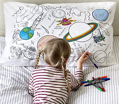 eatsleepdoodle educational Space and planets pure cotton soft Pillowcase - Colour Your Own Doodle Pillow Case with Planets, Rockets, Astronauts and Moon missions, with Washable Felt tip Fabric Pens
