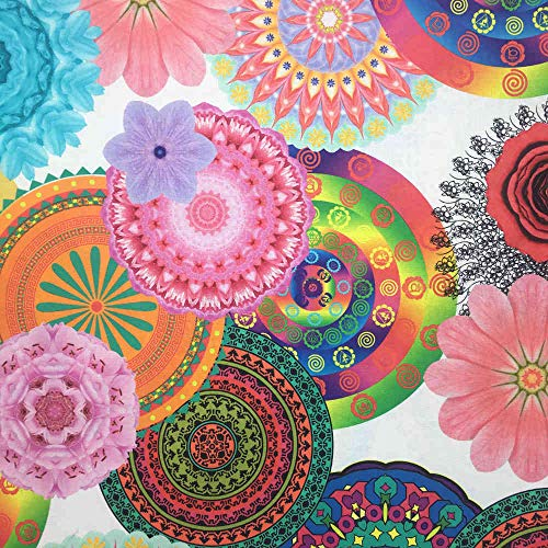Tela por metros de loneta estampada digital - Half Panamá 100% algodón - Ancho 280 cm   Mandalas, Anisha - Multicolor