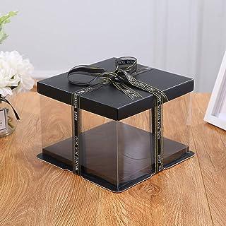 LAIYYI 1 st S/M/L genomskinlig fyrkantig presentask tårta displaybox, ros björn blomma gåva plastorganiserare med lock och...