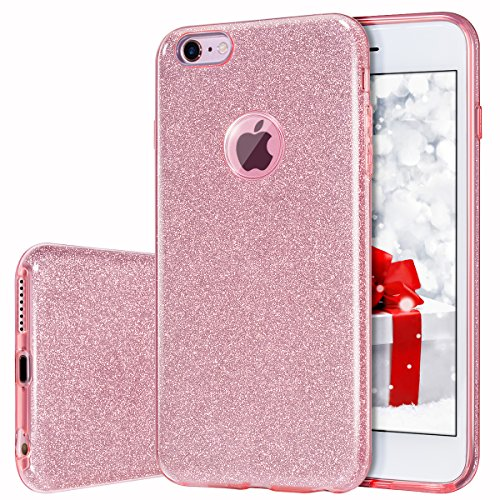 MILPROX Cover iPhone 6, iPhone 6s Glitter Shiny Bling Slim Crystal Clear TPU Bling Glitter Paper Frosted PC Shell Protettiva Custodia per iPhone 6/6s - Rosa