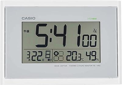CASIO(カシオ) 置き時計 電波 ホワイト デジタル 生活環境 温度 湿度 カレンダー 表示 置き掛け兼用 IDL-100J-7JF
