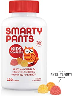 SmartyPants Kids Complete Daily Gummy Vitamins: Gluten Free, Multivitamin & Omega 3 Fish Oil (DHA/EPA Fatty Acids), Iodine Supplement, Methyl B12, Vitamin D3, Non-GMO, 120 count (30 Day Supply)