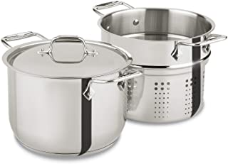 All-Clad E414S564 Stainless Steel Steamer Cookware, 5-Quart, Silver 6-Quart Silver 2100078499