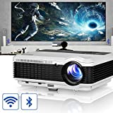 HD Home Projectors with Bluetooth WiFi, EUG 3900 Lumen Built-in Android 6.0 Smart Video Projector for Gaming Movies Outdoor Entertainment with HDMI USB VGA AV RCA Audio 1280800 Native