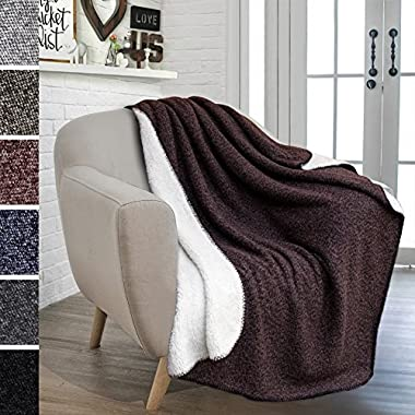 PAVILIA Premium Fleece Sherpa Throw Blanket for Couch, Sofa | Soft, Cozy, Reversible, Lightweight Microfiber | Melange Two-Tone Knit for All Season Use (50 x 60 inches, Dark Purple)
