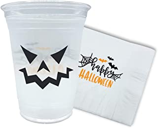 Halloween Cups and Napkins for Decoration (Halloween Combo 50 Cups and 100 Napkins)