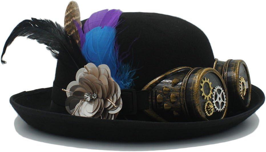 Women Men Black Handwork Steampunk Bowler for Brand new Fedora Cosplay Hat OFFicial store