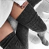 WANDOUJIA Medias Sexis para Mujer, Polainas, Calcetines Largos a Rayas, Medias hasta El Muslo, Calcetines Calientes Eróticos Femeninos sobre La Rodilla, Medias De Mujer Gris Oscuro
