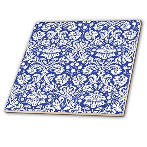 3dRose ct_151455_1 Royal Blue and White Damask Pattern Stylish Elegant Victorian Vintage French Floral Swirls Navy Ceramic Tile, 4""