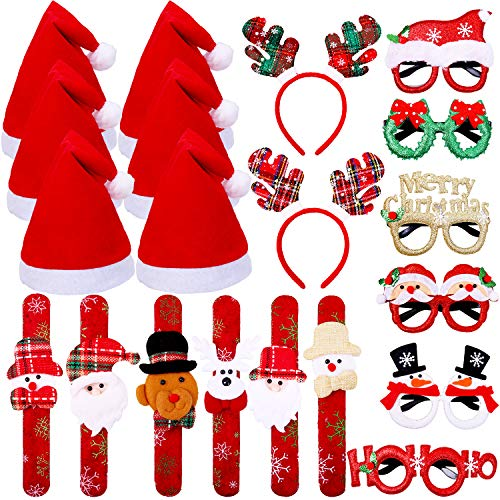 Ruisita 20 Pieces Christmas Party Costume Supplies Christmas Party Glasses Frames Xmas Santa Hats Christmas Headband Headwears Christmas Slap Bracelets, Assorted Styles Red