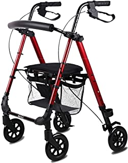 DHINGM Old-age Shopping Cart, Folding Can be Pushed, Old Man Trolley Walker, Sturdy Steel Frame, Strong Welding, Good Stability, Humanized Brake Design, Convenient for The Elderly, Safe and Convenient