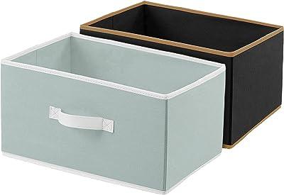 Kuber Industries Non-Woven Rectangular Flodable Cloth Storage Box, Pack of 2 (Grey & Black)-HS40KUBMART23921