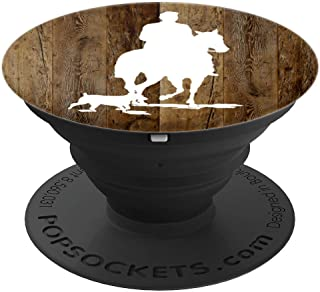 Horse Rider With Dog Silhouette on Brown Background PopSockets Grip and Stand for Phones and Tablets
