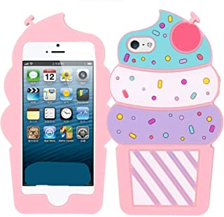 Joyleop Ice Cream Case for iPhone 5 5C 5S SE 5G,Cute 3D Cartoon Animal Cover,Kids Girls Lady Cool Fun Soft Silicone Gel Rubber Kawaii Character Unique Cases,Fashion Shell Skin Protector for iPhone5