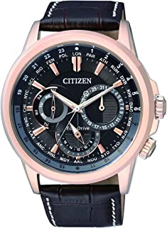 CITIZEN Mens Solar Powered Watch, Analog Display and Leather Strap BU2023-12E