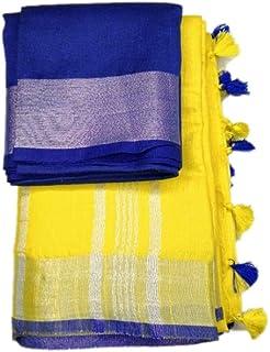 maatara handloom Women's Linen Saree with Blouse Piece (Gold)