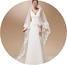 3M Ivory Cathedral Wedding Veil Long With Combe One Layer Lace Edge White Bridal Veil