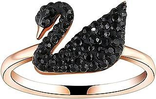 Swarovski Iconic Swan Ring Black Rose gold Plated 5366585