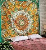 Mandala Tapisserie, Wandbehang, groß, indische Kunst, Baumwolle, Bohemian Hippie Tapisserie, Bettlaken, Wandbehang, 21,6 x 139,7 cm, Grün/Orange