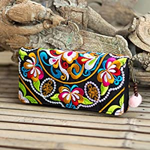 Changnoi Handmade Women Wallet, Tribal Hmong Embroidered Purse with Pom Pom Zip Pull