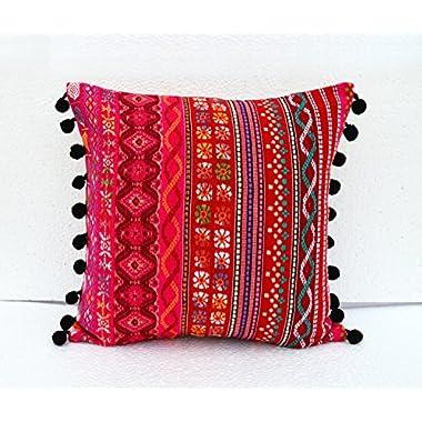 VLiving Acrylic Throw Pillow Cover Multicolour Dobby Cushion Bohemian Tribal Pillow Cover Size 16 x 16