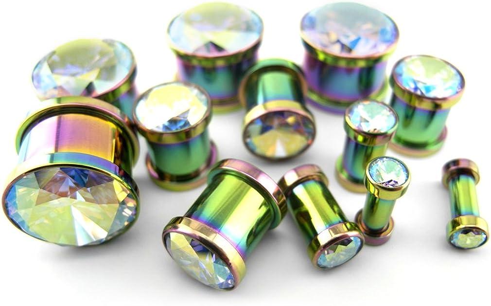 Urban Body Jewelry Pair of 9/16 (14mm) Rainbow Aurora Gem Stainless Steel Plugs
