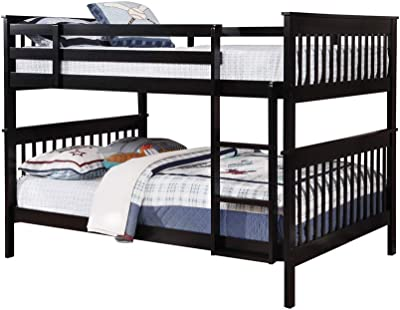 Benjara Mission Style Full Bunk Bed with Attached Ladder, Black