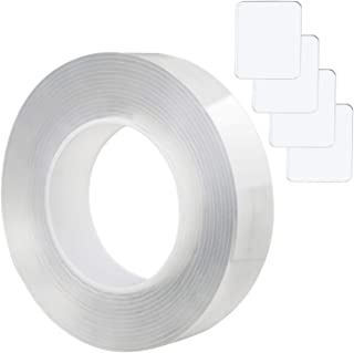 aPopsicle Double Sided Tape Adhesive, Nano Grip Gel Tape Removable Sticyk Clear Reusable 1 Roll 3.28FT(1M) + 4 Pads