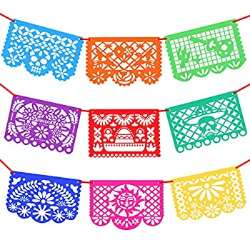 Novelty Place 15 Ft Long 9 Pcs Mexicano Fiesta Papel Picado - Made of Thick Felt - Mexican Festival Party Decorations Paper Banner in 9 Colors and 9 Patterns Pannels