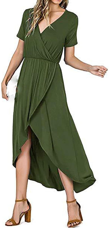 ODJOY-FAN Women's Dresses Short Sleeve V-Neck Mini Sundress Casual Loose Boho Beach Dress Summer Dress