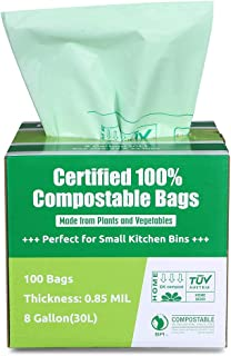 Primode 100% Compostable Bags, 8 Gallon (30L) Food Scraps Yard Waste Bags, 100 Count, Extra Thick 0.85 Mil. ASTM D6400 Com...