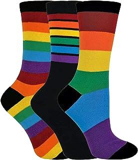3 Pares Hombre y Mujer Colores Algodon Vestir Calcetines con Arcoiris Rayas