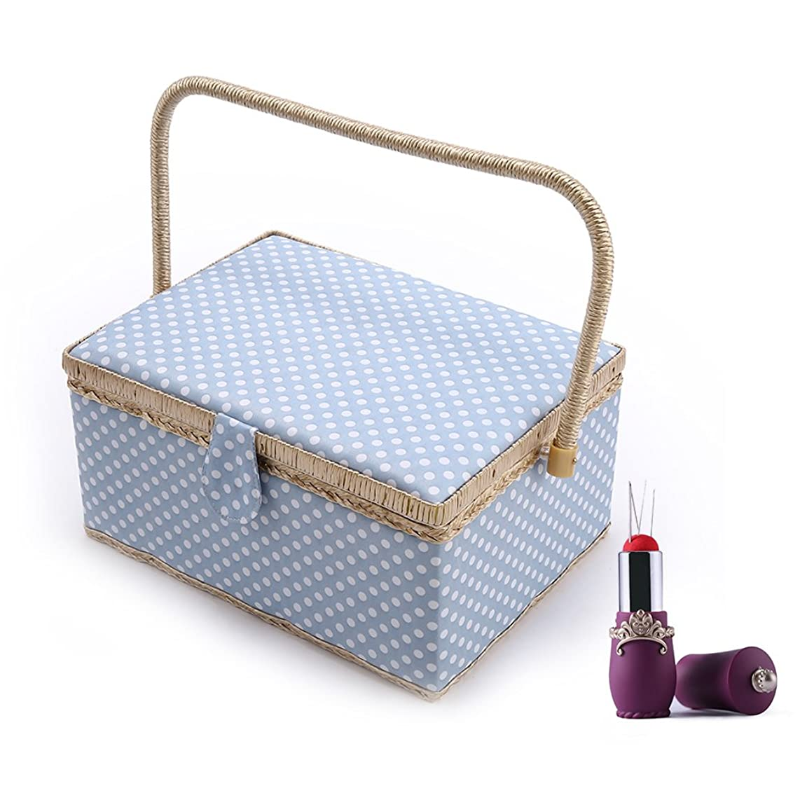 SAXTX Polka Dot Large Sewing Basket Organizer with 100pcs Accessories| Home Essentials Sewing Kit Box for Quilting Embroidery | 12 1/5 x 9 x 6 1/3 inches|Blue
