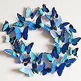 Vakind Abnehmbar Wandsticker Neu 3D- Wandaufkleber Haus Dekor Wandtattoo Zimmerschmuck 3D-Schmetterling Blau