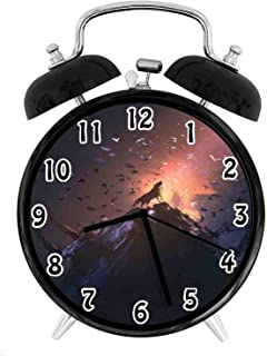 22yiihannz Fantasy World Silent Luminous Alarm Clock,Howling Wolf on Rock Surrounded by Bats Birds Scary Dog Wild Life Animals-No Ticking,Soft Night Light,The Best Gift for Family or Friends-3.8 inch