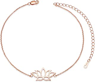 SHEGRACE Lotus Flower Pendant Anklets 925 Sterling Silver 24K Gold/Platinum/Rose Gold Plated Chain Charm Jewelry for Women Teen Girls,Adjustable