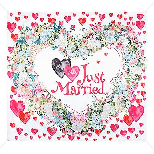 MEJOSER Hochzeitslaken – Hochzeitsherz zum Ausschneiden - als Hochzeitsspiel fürs Brautpaar beim Standesamt - Just Married Herzmotiv Laken für Braut und Bräutigam für tolle Fotos