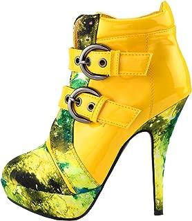Punk Buckle Night Sky High Heel Stiletto Platform Ankle Boots,LF30301