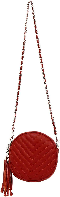 Crossbody-Tasche Umhängetasche rund aus echtem Leder (100% Made in ) Schultertasche mit Steppmuster und Kettenschultergurt (Farbauswahl) B077P795D6  Neuer Stil