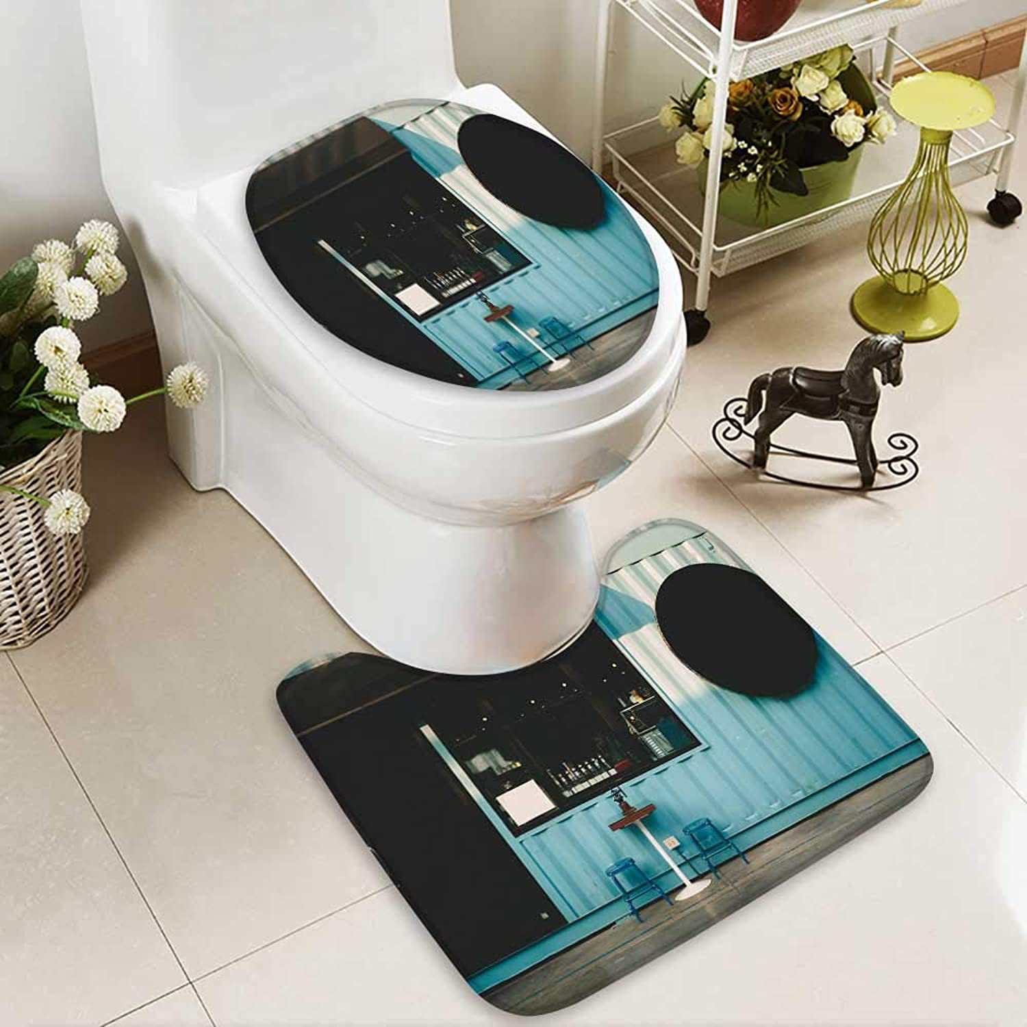 Analisahome 2 Piece Bathroom Contour Rugs Front Coffee Shop Non Slip Comfortable SND Soft