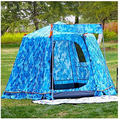 Outdoor Dubbele Laag Super Hoge Tent, 3-4 Personen Zeshoekige Automatische Tent, Telescopische Aluminium Paal