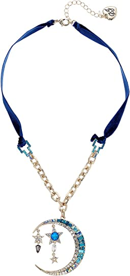Betsey Johnson - Blue and Gold Moon Pendant Necklace