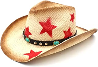 JAUROUXIYUJI New Women Men Straw Western Cowboy Hat with Punk Leather Size (Color : Natural, Size : 58cm)