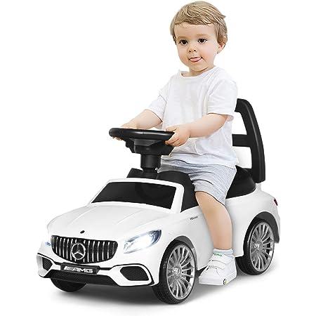 COSTWAY Macchina Cavalcabile a Spinta per Bambini con Musica e LED, Scompartimento sotto Sedile, Giocattolo Cavalcabile (Bianco)