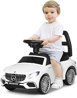 COSTWAY 2 in 1 Mercedes Benz AMG Kinderauto und Schiebeauto mit LED Scheinwerfer, Hupe und Musik, Rutschauto mit Aufbewahrungsfach unter dem Sitz, Kinderrutscher, Spielzeugauto für Kinder Weiß
