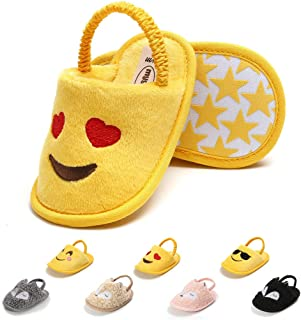 Infant Baby Slippers with Non Skid Soft Sole Newborn Boys Girls Winter Warm Slide Shoes Toddler Stay On Flats House Crib Shoes
