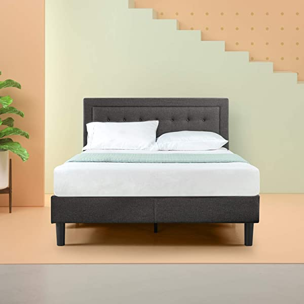 Zinus Dachelle Upholstered Button Tufted Premium Platform Bed Mattress Foundation Easy Assembly Strong Wood Slat Support Dark Grey Cal King