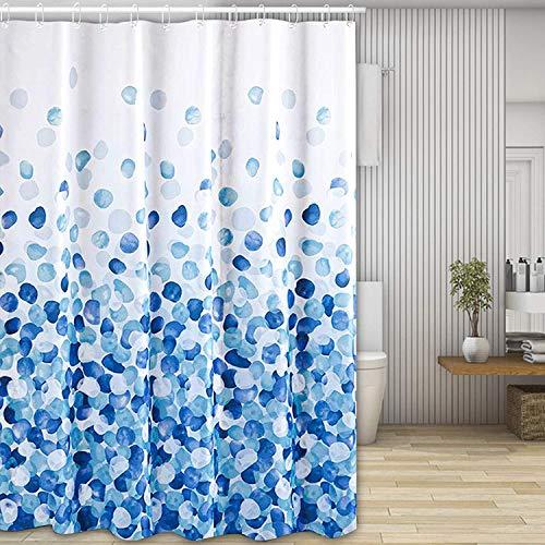 Wuudi Duschvorhang, wasserdicht & mildengeschützter Duschvorhang, 100prozent Polyester, 180 x 180 cm dekorativer Badezimmervorhang für Haus- & Hotelsichtschutz mit 12 Duschvorhang Haken (blau)