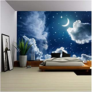 wall26 - Night Sky with Stars and Moon - Removable Wall Mural | Self-Adhesive Large Wallpaper - 100x144 inches