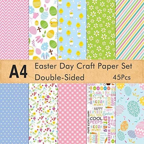 FEPITO 45 Blatt Ostern Muster Papier Set A4 Dekorpapier für die Kartenherstellung Scrapbook Dekoration, Doppelseite 10 Muster